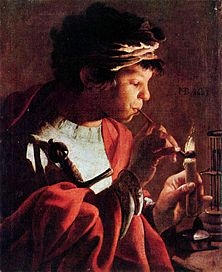 Youth with pipe by Hendrick Jansz Terbrugghen