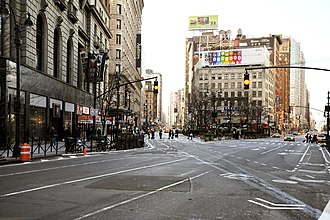 Herald Square - Herald Square, looking down Broadway and Sixth Avenue at 35th Street in 2008