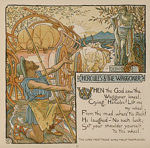 "Limerick (poetry) - An illustration of the fable of Hercules and the Wagoner by Walter Crane in the limerick collection ""Baby's Own Aesop"" (1887)"