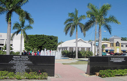 The Heroes Square in the centre of George Town, which commemorates Cayman Islands' war dead. The Legislative Assembly building is at the left. Heroes Square of George Town.jpg