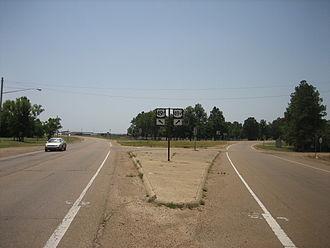 Tutwiler, Mississippi - Split of U.S. Route 49 in Tutwiler
