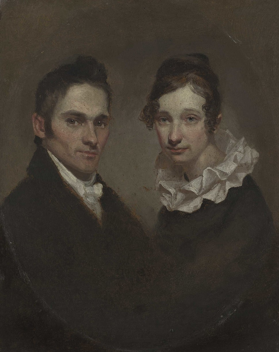 Hiram and Sybil Moseley Bingham, oil on composition board, 1819