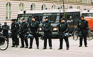 Rigspolitiet - Danish police during the clearance of the Ungdomshuset