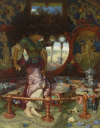 Textiles in mythology and folklore - The Lady of Shallott by William Holman Hunt, painted from 1888 to 1902