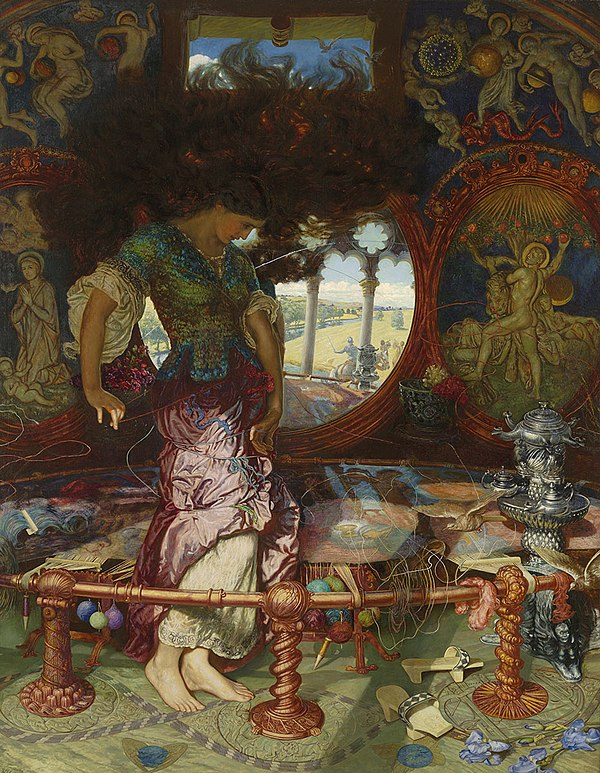 The first four stanzas of the 1842 poem describe a pastoral setting The Lady of Shalott lives in an island castle in a river which flows to Camelot but the local