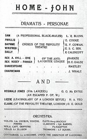 "Holzminden prisoner-of-war camp - Cast list for ""Home John"", a revue performed at Holzminden on 27 July 1918. James Whale appeared as ""Charwoman""."