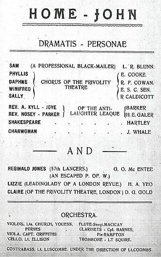 "Holzminden prisoner-of-war camp - Cast list for ""Home John"", a revue performed at Holzminden on 27 July 1918. James Whale appeared as ""Charwoman""."