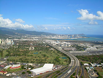 Interstate H-1 - Aerial view of H-1 (looking east) from Honolulu Airport heading into downtown Honolulu