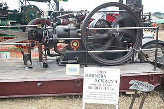 Hot-bulb engine - A Hornsby-Akroyd hot-bulb engine, built to the original horizontal cylinder, four-stroke design. This particular engine has been adapted to run on lamp oil.
