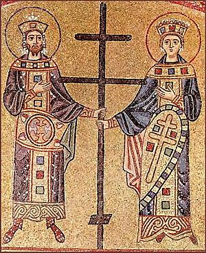 Orthodox cross - Image: Hosios Loukas (narthex) West wall, left detail 03 (Constantine and Helena) 02