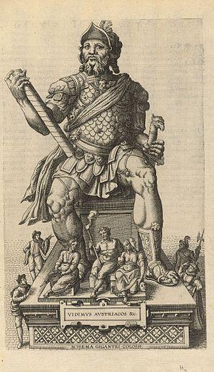 Joannes Bochius - An illustration from Bochius's Descriptio publicae gratulationis (1595), engraved by Pieter van der Borcht the Elder