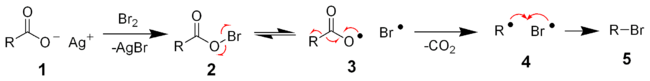 Radicalic mechanism of Hunsdiecker reaction