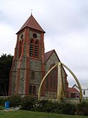 The church, and whalebone arch
