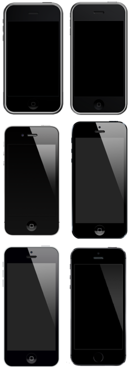 The first-generation iPhone, 3G, 4, 5, 5C and 5S to scale. IPhone montage.png