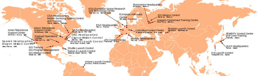 A world map highlighting the locations of space centres. See adjacent text for details.