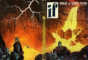 "If (magazine) - The June 1954 issue of If, featuring a wraparound cover by Kenneth S. Fagg, titled ""Lava Falls on Mercury"""