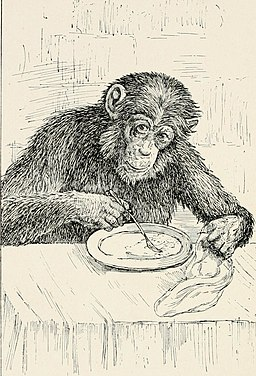 Ilustration of chimpanzee with fork and plate