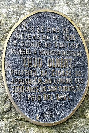 Ehud Olmert - Bronze plate situated in the Wire Opera House in Curitiba, Brazil, commemorating Olmert's visit as mayor of Jerusalem