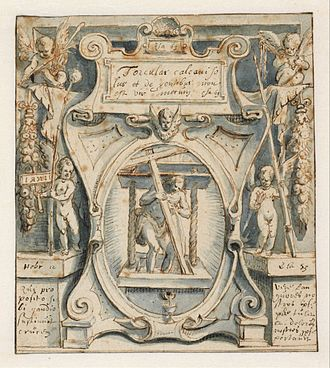 """Christ in the winepress - Preparatory drawing for a print, by the Dutch Calvinist Karel van Mander, 1596. The cross is nearly erect, in the """"triumphal"""" position typical of Protestant versions"""