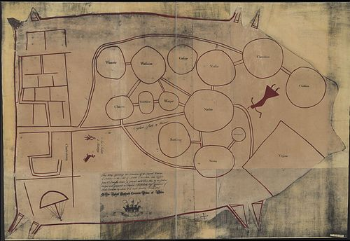 "A c. 1724 English copy of a deerskin Catawba map of the tribes between Charleston (left) and Virginia (right) following the displacements of a century of disease and enslavement and the 1715-7 Yamasee War. The Chickasaw are labeled as ""Chickisa"". Indians NW of South Carolina.jpg"