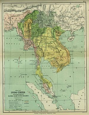 Indochina - 1886 map of Indochina, from the Scottish Geographical Magazine