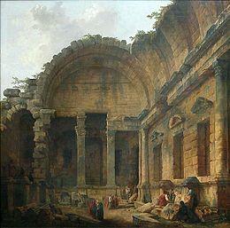 Intérieur du Temple de Diane à Nîmes (Hubert Robert, Louvre) — Wikipédia