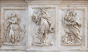 Interior of Santi Giovanni e Paolo (Venice) - Monument of the Valier Bas-relief left.jpg
