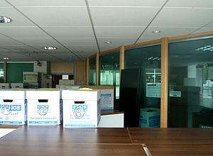 Cyprus Popular Bank - The interior of the Laiki Bank, Finchley, filled with boxes and cabinets after closure.
