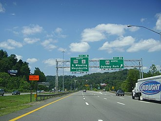 Interstate 70 in West Virginia - I-70 westbound near the campus of Wheeling Jesuit University