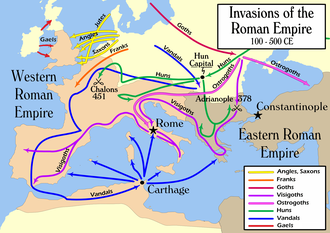 History of Anglo-Saxon England - 2nd to 5th century simplified migration patterns.