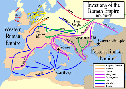 2nd to 5th century simplified migrations. See also map of the world in 820 CE. Invasions of the Roman Empire 1.png
