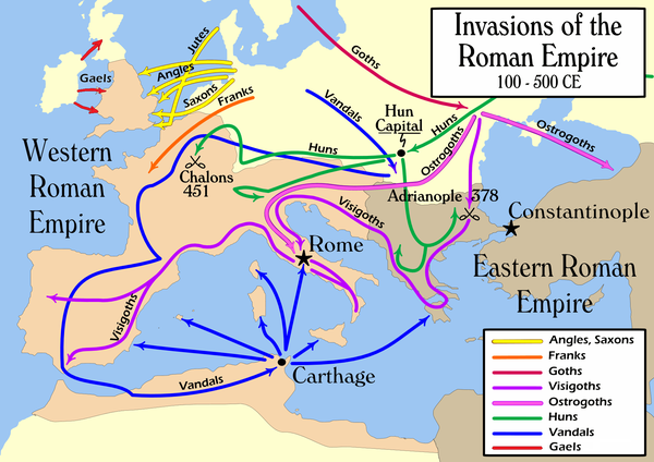 The Barbarian Invasions consisted of the movement of (mainly) ancient Germanic peoples into Roman territory. Even though northern invasions took place throughout the life of the Empire, this period officially began in the 4th century and lasted for many centuries, during which the western territory was under the dominion of foreign northern rulers, a notable one being Charlemagne. Historically, this event marked the transition between classical antiquity and the Middle Ages. Invasions of the Roman Empire 1.png