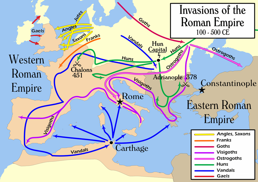 Routes of Babarian invasions, 100-500 AD. Invasions of the Roman Empire 1.png