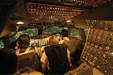 A view o an early-production 747 cockpit