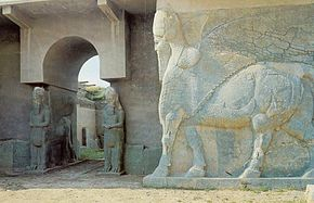 Iraq; Nimrud - Assyria, Lamassu's Guarding Palace Entrance.jpg