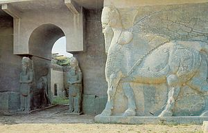 Nimrud - A lamassu at the North West Palace of Ashurnasirpal II before destruction in 2015.