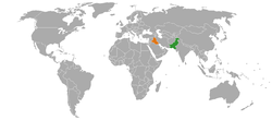 Map indicating locations of Pakistan and Iraq
