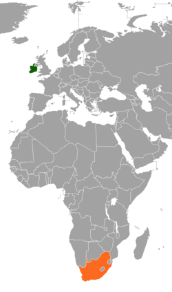 Map indicating locations of Ireland and South Africa