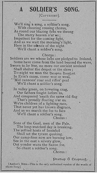 Amhrán na bhFiann - Image: Irish national anthem (1916)