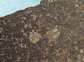 Coupe d'un bloc de basalte contenant des inclusions brillantes de fer natif. Origine: Uivfaq (île Disko, Groenland). Taille: 7,8 x 3,5 x 0,6cm