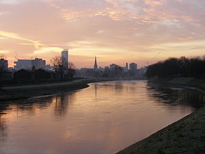 River Irwell - The River Irwell at Salford, looking towards Manchester city centre