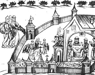 Russian conquest of Siberia - Muscovite voevodas in the new-built fortress of Tyumen, from the Remezov Chronicle.