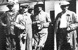 Jiu Valley - Writer Panait Istrati (second from the right) with coal miners of Lupeni, during the 1929 protests
