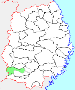Location of Isawa in Iwate Prefecture
