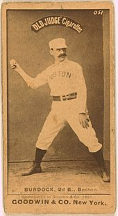 A tobacco card showing a player in a throwing pose with a baseball in his right hand.