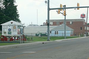 Jackson, Ohio - A view of Jackson's welcome sign and city's water tower while traveling north on SR 93
