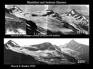 Jackson Glacier - The upper image shows how Blackfoot (on the left) and Jackson Glaciers (on the right) appeared in 1914. The lower image is taken from the same vantage point in 2001.