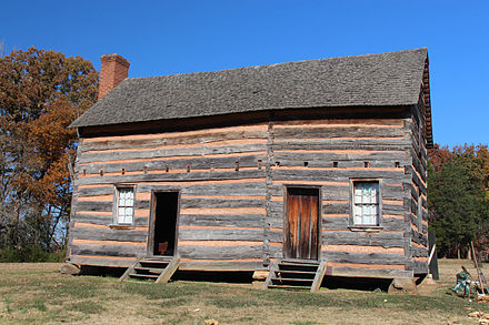 Reconstruction of the log cabin in which Polk was born James K. Polk Childhood Log Cabin (Reconstruction).jpg