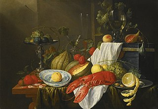 Still life with a lobster, peaches, Wanli dishes holding an orange, grapes, melons, plums, figs, shrimp, tazza, Venetian glass, casket, and rummer of wine, all on a table