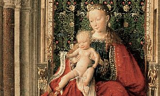 Dresden Triptych - Detail showing the Virgin and Child sitting on the canopied throne with multi-coloured marble columns to the left